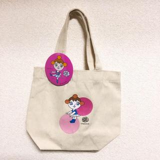 カルディ(KALDI)のミレーちゃんのミニトートバッグ&缶バッジ(キャラクターグッズ)