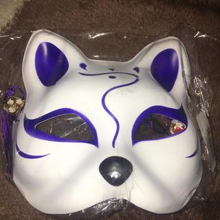赤黒狐のお面 キツネのおめん 飾り鈴タッセル付き コスプレ 祭り(小道具)