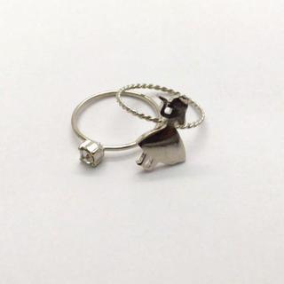アリスの重ね付けリング シルバーカラー☆指輪 銀色 不思議の国のアリス(リング(指輪))