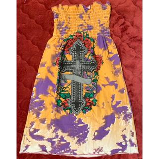 アナップ(ANAP)のAURORA ヴィンテージ ベアトップ ミニワンピース スカート カラフル 古着(ベアトップ/チューブトップ)