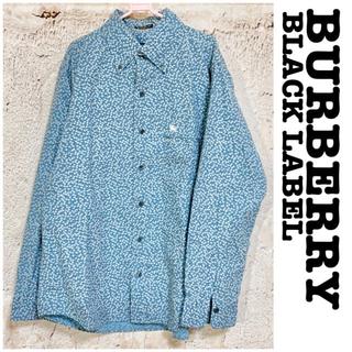 バーバリーブラックレーベル(BURBERRY BLACK LABEL)のバーバリー ブラックレーベル ワンポイント刺繍 小花柄シャツ 長袖 ボタンダウン(シャツ)