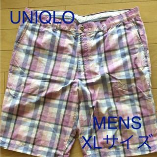 ユニクロ(UNIQLO)のハーフパンツ ユニクロmen'sXL 丈57ピンク紫チェック柄(ショートパンツ)