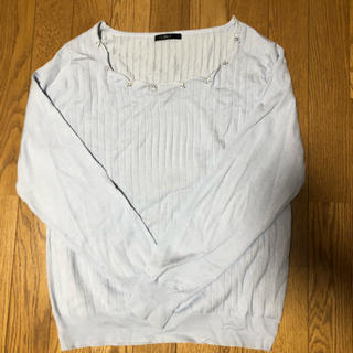 Re-J リジェイ 大きいサイズ 春ニット セーター 水色 ブルー スカラップ(ニット/セーター)