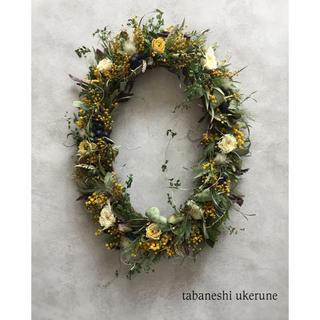 春の新緑の香りに包まれる ミモザを添えた オーバル リース ドライフラワー (ドライフラワー)