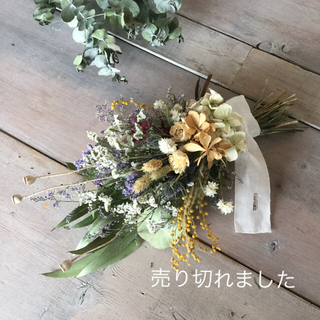 春の小花のスワッグ(ドライフラワー)