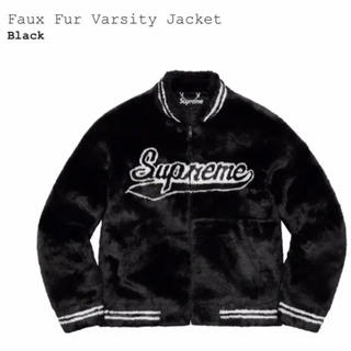 シュプリーム(Supreme)のSupreme faux fur varsity jacket black M(ブルゾン)