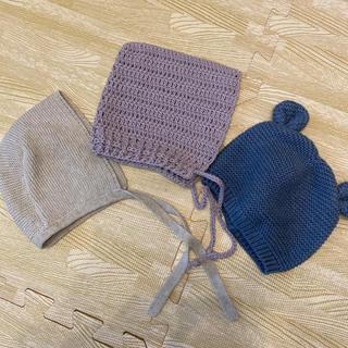 ザラ(ZARA)のベビー帽子3点セット ニット帽子 ボンネット(帽子)