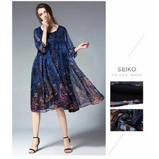 青3Lパーティードレスぽっちゃりゆったり大きいサイズ花柄シフォンワンピース885(ミディアムドレス)