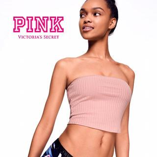 ヴィクトリアズシークレット(Victoria's Secret)の新品*ヴィクトリアシークレットPINK*リブチューブトップ*S/ピンク(ベアトップ/チューブトップ)