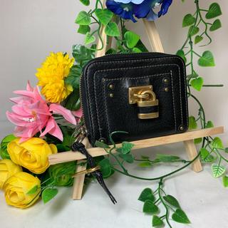 クロエ(Chloe)のChloe クロエ パティントン レザー 二つ折り財布 ブラック&ゴールド(折り財布)