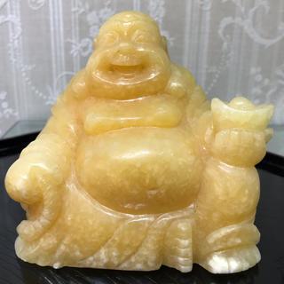 天然石 アラゴナイト 布袋 手彫り 布袋尊(彫刻/オブジェ)