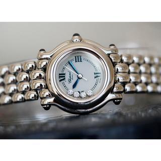 ショパール(Chopard)の美品 ショパール ハッピースポーツ 4P ダイヤモンド シルバー レディース(腕時計)