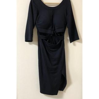 アンディ(Andy)のネイビー タイトドレス スリットあり スタイルよく見えるドレスです ひざ丈ドレス(ミディアムドレス)