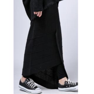 アンティカ(antiqua)の【antiqua】アシンメトリー天竺ニットタイトスカート 定価5060円(ロングスカート)