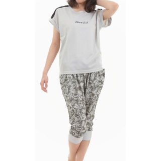 ベルメゾン(ベルメゾン)のグレー L 半袖 Tシャツ プリントカブリパンツ 上下 セット即買いOK(ルームウェア)