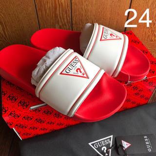ゲス(GUESS)の新品 GUESS☆24cm シャワーサンダル 赤白 ゲス(サンダル)