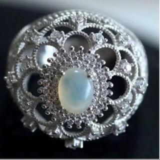 天然ホワイトオパール ダイヤモンド K14WG仕上リング 15号(リング(指輪))