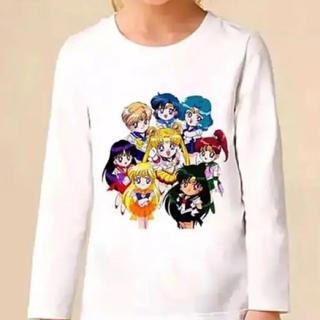 セーラームーン(セーラームーン)のセーラームーン 子供服 キッズ ロングTシャツ 5Tサイズ(スターズ8戦士柄③)(Tシャツ/カットソー)