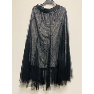 【新品】キラキラシフォン黒スカート(ロングスカート)