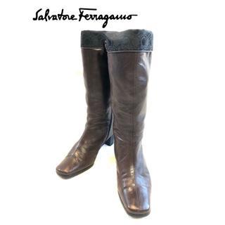サルヴァトーレフェラガモ(Salvatore Ferragamo)のSalvatore Ferragamo 定価71000円 レザーロングブーツ(ブーツ)