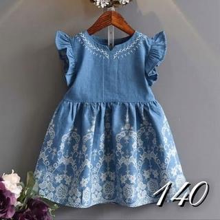 [140] ソフトデニム風 刺繍ドレス(ワンピース)