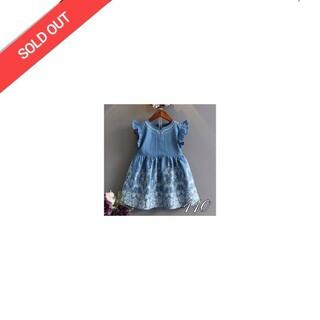 [110] ソフトデニム風 刺繍ドレス(ワンピース)