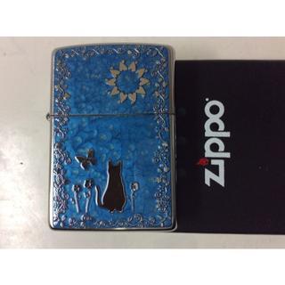 ジッポー(ZIPPO)のZippo ネコ 猫 両面柄違い メタル 2MPP-Cat 青(タバコグッズ)