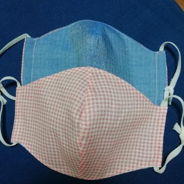 マスク 日焼け / ギンガムチェック✕ブルー リバーシブル 立体布マスク③ 2枚組 ハンドメイドの通販