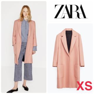 ザラ(ZARA)のZARA WOMAN ピンク ロングチェスターコートXS(チェスターコート)