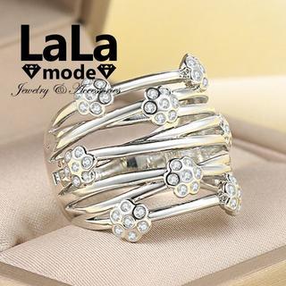 リング 指輪 レディース AAA ジルコニア デザインリング WG仕上げ(リング(指輪))