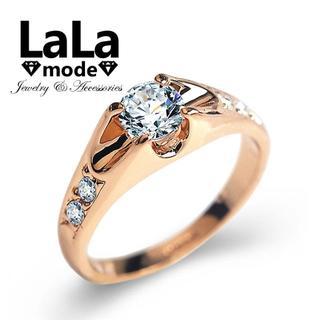 リング 指輪 レディース 0.5ct AAA ジルコニア ローズ&シルバー(リング(指輪))