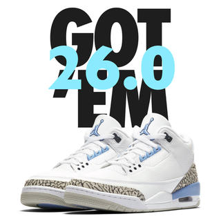 ナイキ(NIKE)のNIKE / AIR JORDAN 3 RETRO UNC/VALOR BLUE(スニーカー)