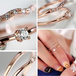 【SWAROVSKI】2連 K18金RGP フリーサイズ 指輪 リング(リング(指輪))