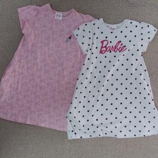 バービー(Barbie)のGU 120cm Barbie  白ドット  ピンク 2着 Tシャツ ワンピース(ワンピース)