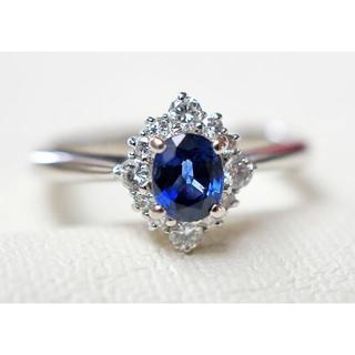 PT900 サファイア&ダイヤモンド リング サイズ「12」 4.6g(リング(指輪))