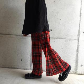 コムデギャルソン(COMME des GARCONS)のヴィンテージ 古着 チェックパンツ 赤 ワイドパンツ yuji yamada(その他)