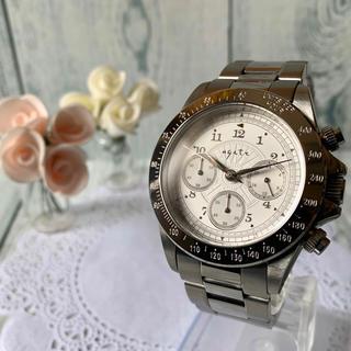 アガット(agete)の【電池交換済み】agete FOR MEN 腕時計 シルバー クロノグラフ(腕時計(アナログ))