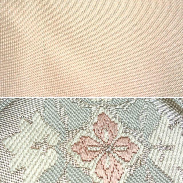 桜色に銀糸の扇面と花模様 袋帯 レディースの水着/浴衣(帯)の商品写真