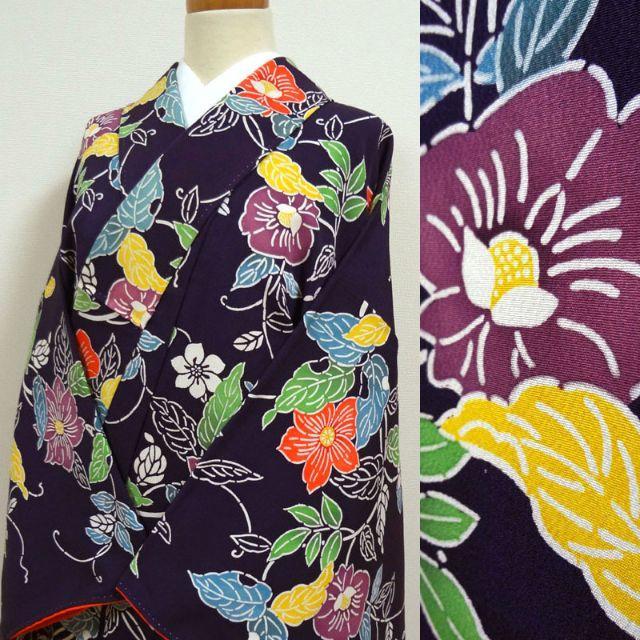 濃い青紫色に蔦と花 小紋 レディースの水着/浴衣(着物)の商品写真