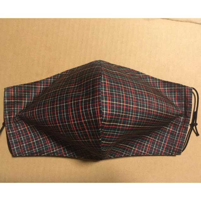 マスク 2plyとは 、 ハンドメイド 着物リメイク 正絹 紬 大きめ 立体 マスク 黒 チェック シルクの通販 by クーちゃん