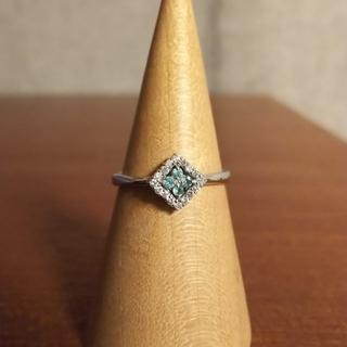K18WGダイヤモンド×トルマリンスクエアリング(12号)(リング(指輪))