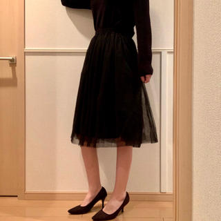 サルース(salus)のsalus チュールスカート 膝丈 スカート 黒 ブラック サルース(ひざ丈スカート)