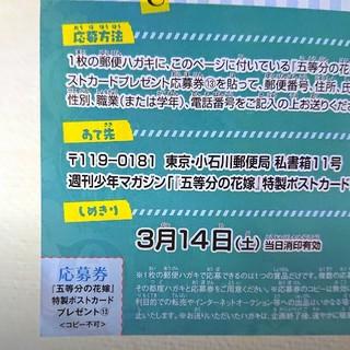 少年マガジン 五等分の花嫁 応募券(キャラクターグッズ)