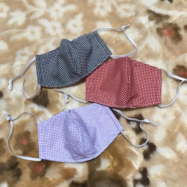マスク ベンゼン | 立体マスク 布マスク ハンドメイド マスク 大人 大きめ チェック 三枚セットの通販