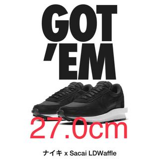 ナイキ(NIKE)の【新品27.0cm】sacai × ナイキLDVワッフル 黒 (スニーカー)