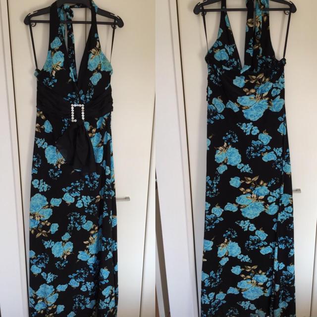 水色バラ黒♡ロングドレス キャバ ナイト レディースのフォーマル/ドレス(ナイトドレス)の商品写真