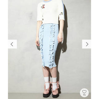 パメオポーズ(PAMEO POSE)のPAMEO POSE BI-COLLAR TRIMMED KNIT SKIRT(ひざ丈スカート)