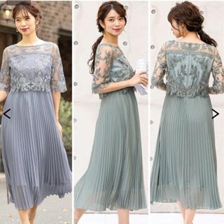 ニッセン(ニッセン)の刺繍レース使いプリーツワンピースドレス 大きいサイズ(ロングドレス)