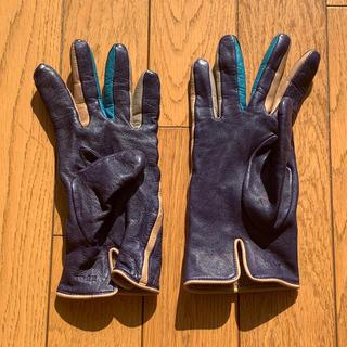 イデー(IDEE)のIDEE イデー 皮 手袋 紺 女性用 ウール(手袋)
