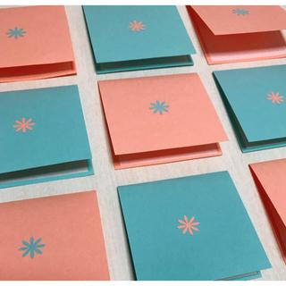 メッセージカード ライトピンク×ライトブルー 12枚セット ハンドメイド(カード/レター/ラッピング)